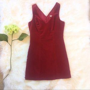 Bebe Velvet Dress Red V Neck Sleeveless Size 8
